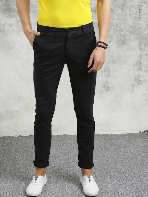 Breakbounce Men Black Skinny Fit Solid Chinos