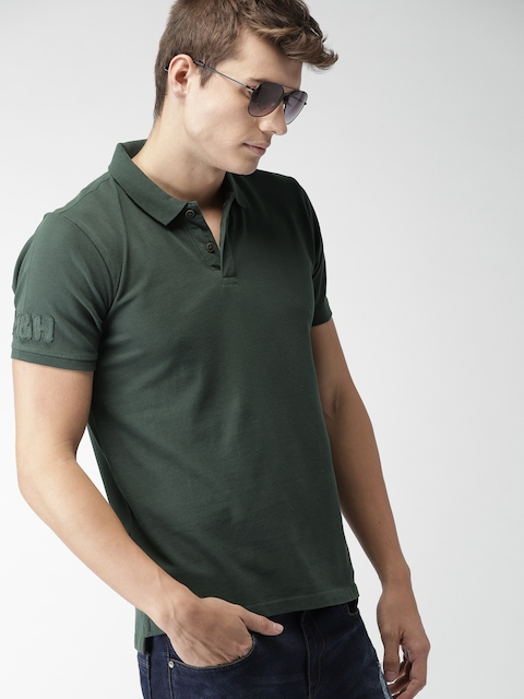 Mast & Harbour Men Charcoal Grey Solid Polo Collar T-shirt