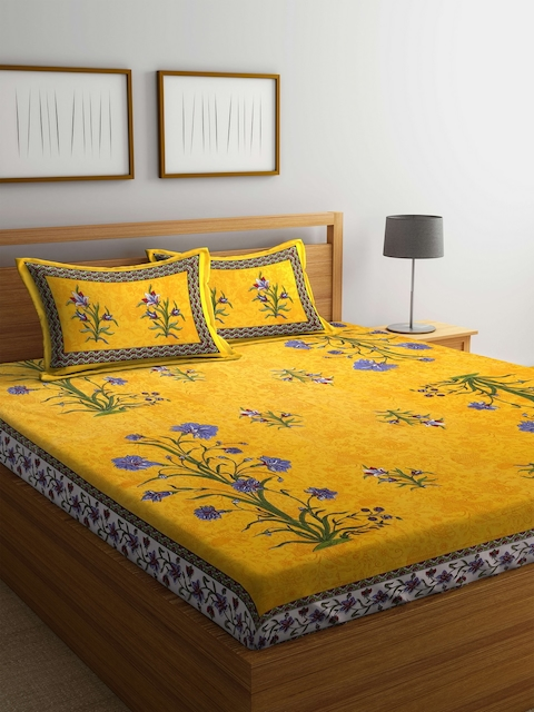 Rajasthan Decor Yellow Floral Flat 144 TC Cotton 1 King Bedsheet with 2 Pillow Covers