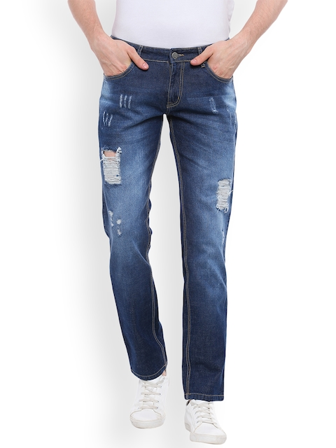 High Star Men Blue Slim Fit Mid-Rise Mildly Distressed Jeans
