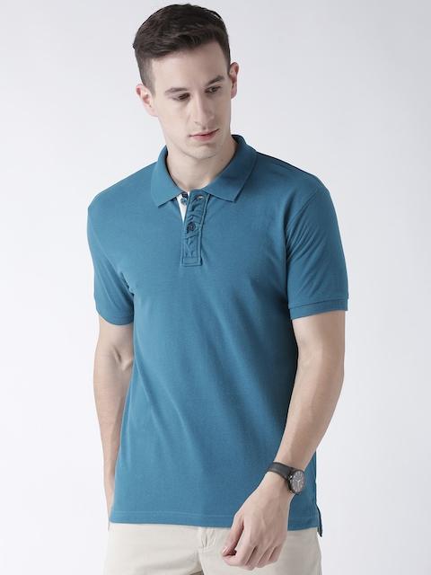 Club York Men Blue Solid Polo Collar T-shirt