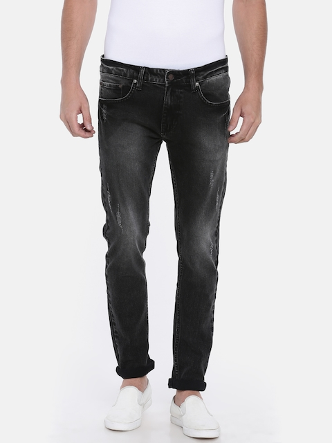 American Crew Men Black Slim Fit Mid-Rise Low Distress Stretchable Jeans