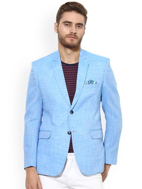 Hangup Men Solid Linen Single-Breasted Slim Fit Blazer