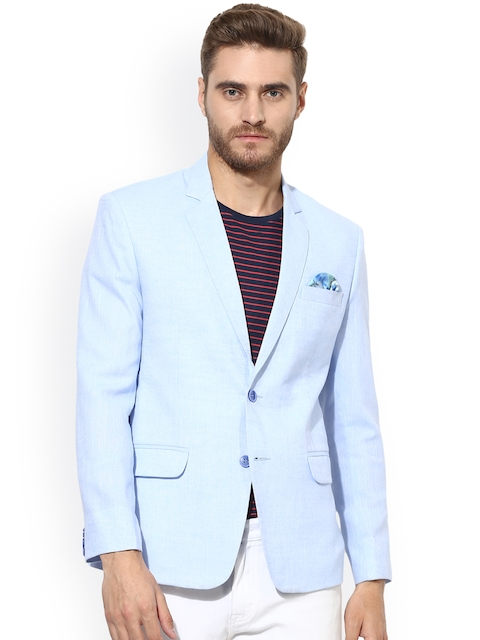 Hangup Blue Solid Single Breasted Casual Linen Blazer