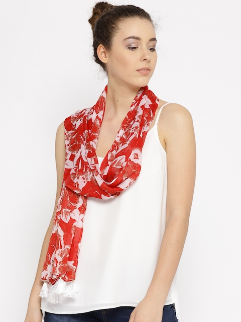 Fort Collins Women Red & Off-White Printed Stole