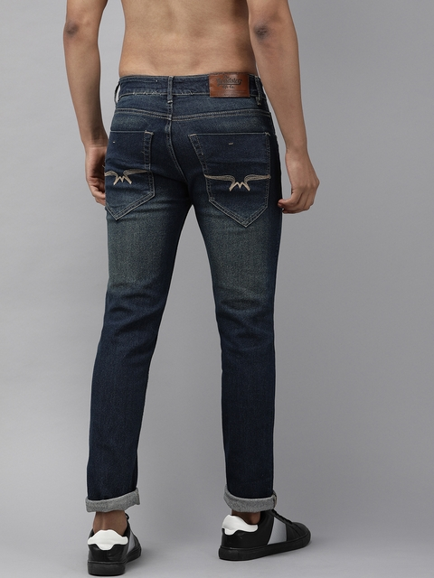 Roadster Fast and Furious Men Blue Slim Fit Mid-Rise Clean Look Stretchable Jeans 3