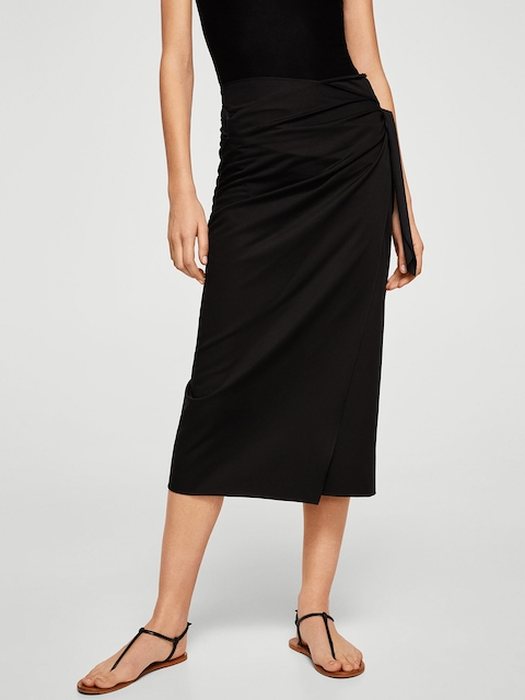 MANGO Women Solid Black Midi Wrap Skirt