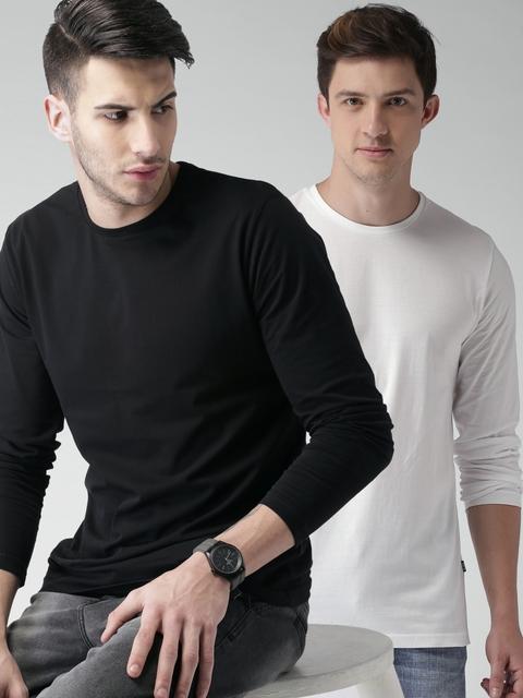HIGHLANDER Men Pack Of 2 Solid T-Shirts