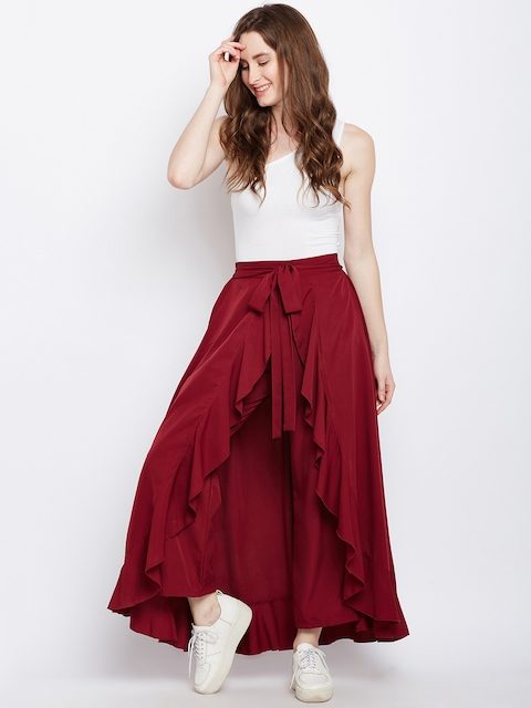 Berrylush Maroon Solid Ruffled Flared Maxi Skirt with Attached Trousers