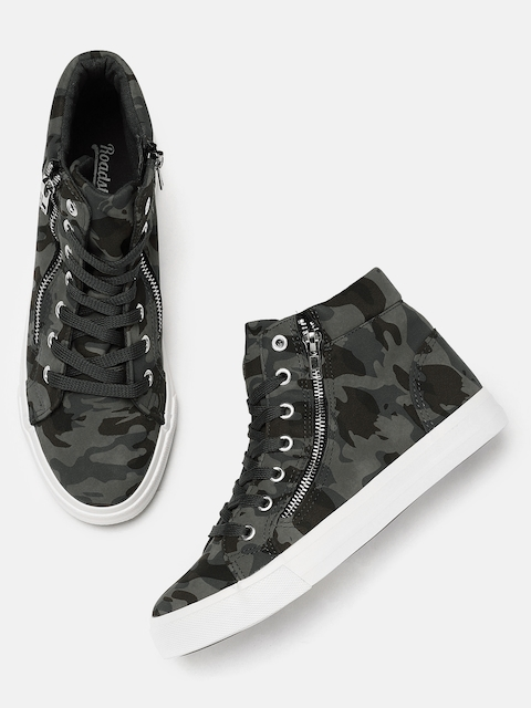 Roadster Women Grey Printed Mid-Top Sneakers