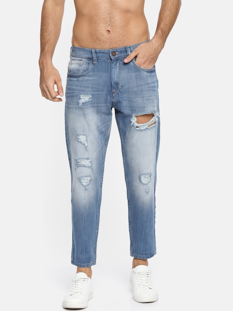 HERE&NOW Men Blue Slim Fit Mid-Rise Mildly Distressed Stretchable Jeans