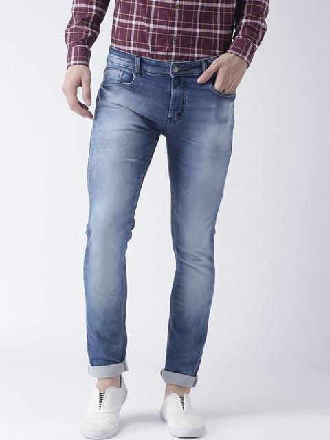 Hangup Men Blue Slim Fit Mid-Rise Clean Look Stretchable Jeans