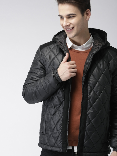 Mast & Harbour Men Black Solid Quilted Jacket