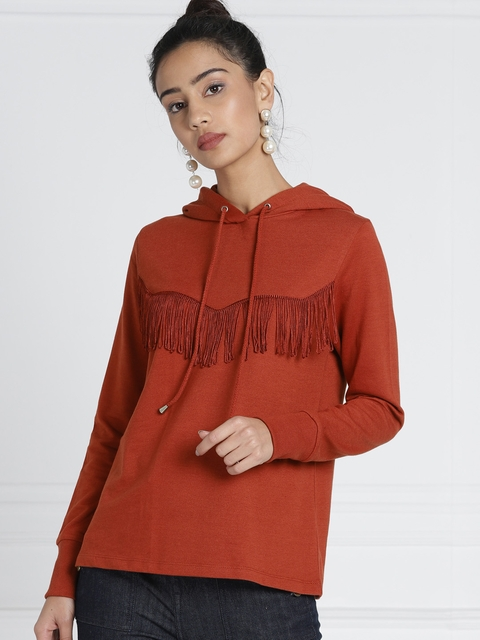 c05b47fdbc8 all about you from Deepika Padukone Rust Red Fringed Hooded Sweatshirt