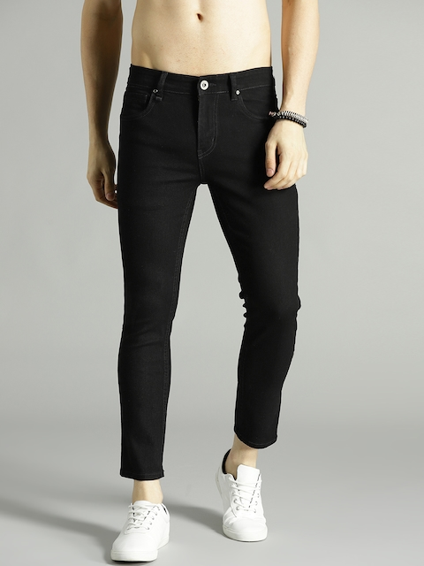 Roadster Men Black Skinny Fit Mid-Rise Clean Look Stretchable Cropped Jeans