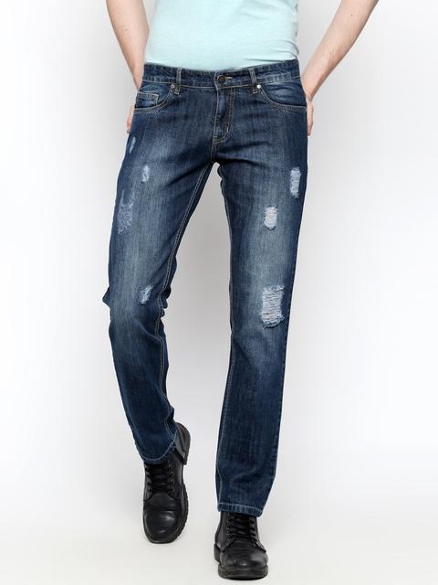High Star Men Blue Slim Fit Mid-Rise Mildly Distressed Jeans