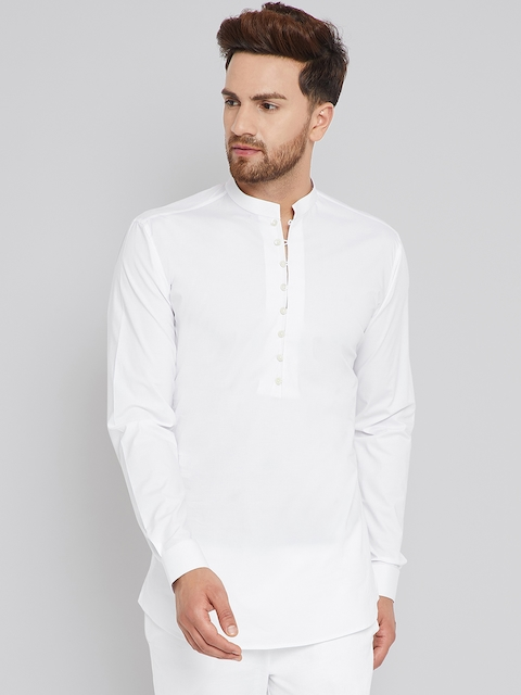 See Designs Men White Solid Straight Cotton Kurta