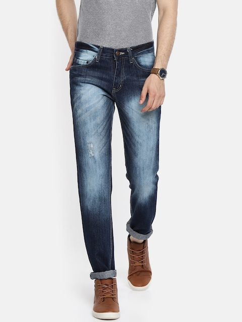 American Crew Men Blue Straight Fit Mid-Rise Low Distressed Jeans