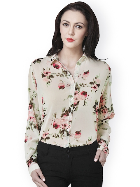 PURYS Women Beige & Pink Semi-Transparent Floral Printed Shirt