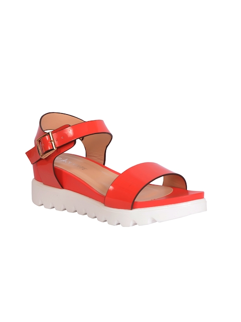 Olmiite Women Red Leather Comfort Sandals