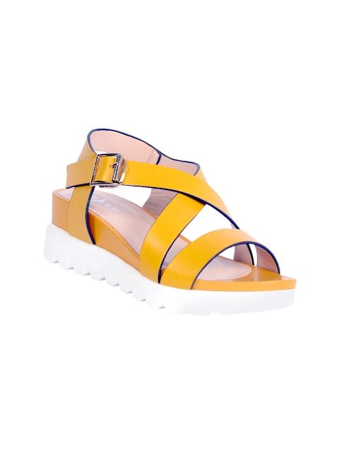 Olmiite Women Yellow Leather Comfort Sandals