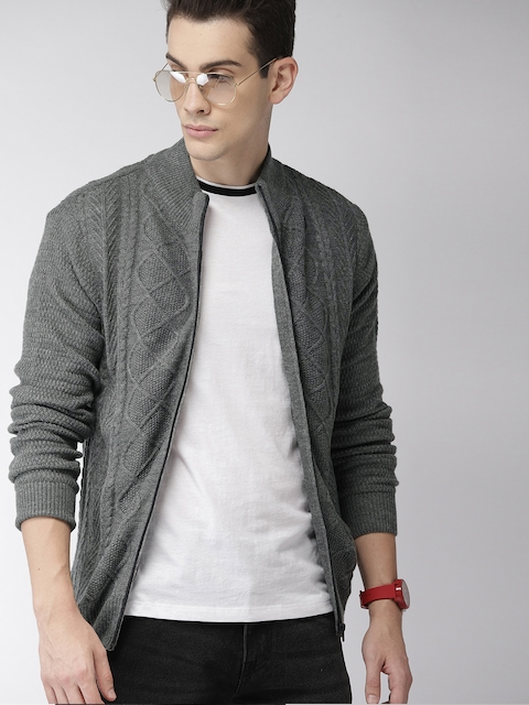 Harvard Men Grey Melange Self Design Cardigan