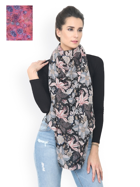 Trend Arrest Women Pack of 2 Black & Pink Printed Stole
