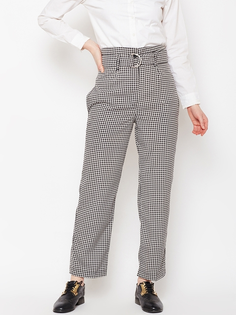 Popnetic Women Black Regular Fit Checked Parallel Trousers