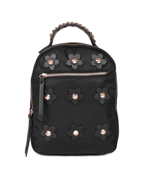 87ad98b25375 Steve Madden Women Black Solid Backpack with Flower-Shaped Detailing
