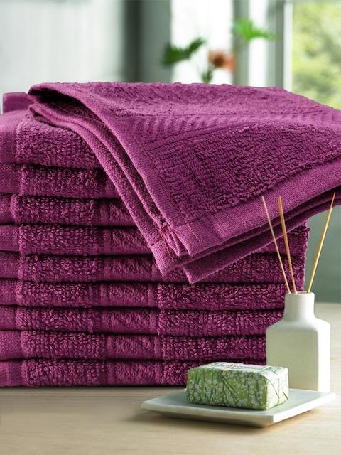 Trident Set of 10 Burgundy Cotton 400 GSM Face Towel