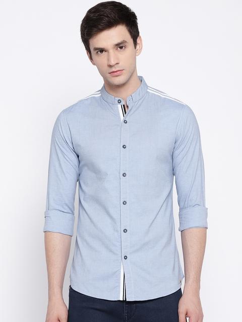 SPYKAR Men Blue Slim Fit Solid Casual Shirt
