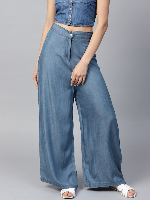 SASSAFRAS Women Blue Solid Denim Parallel Trousers