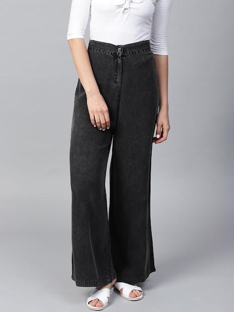 9c5833e671e SASSAFRAS Women Charcoal Grey Solid Denim Parallel Trousers