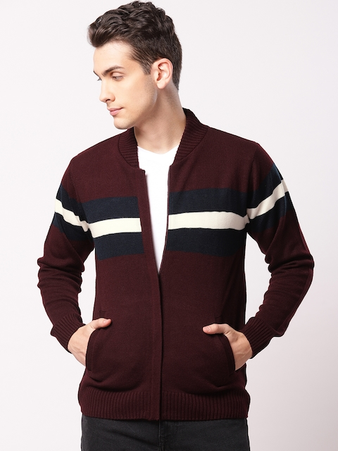 ether Men Burgundy & Navy Blue Colourblocked Cardigan