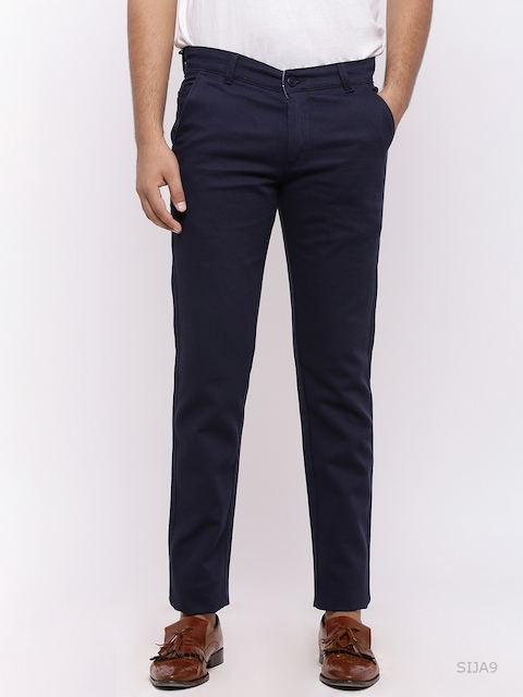 Nation Polo Club Men Navy Blue Skinny Fit Solid Chinos