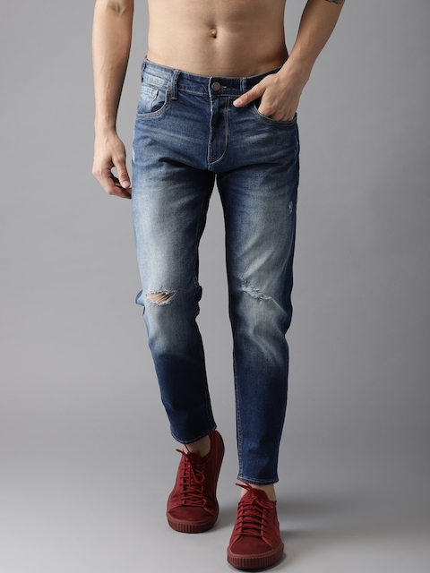 HERE&NOW Men Blue Tapered Fit Mid-Rise Mildly Distressed Stretchable Cropped Jeans