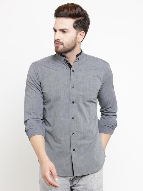 Purple State Men Grey Slim Fit Solid Casual Shirt