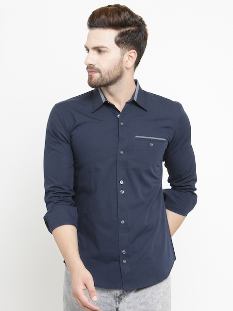 Purple State Men Blue Slim Fit Solid Casual Shirt