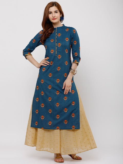Vishudh Women Teal Printed Straight Kurta