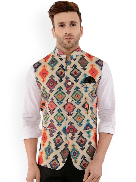 Hangup Men Multicoloured Printed Nehru Jacket With Pocket Square