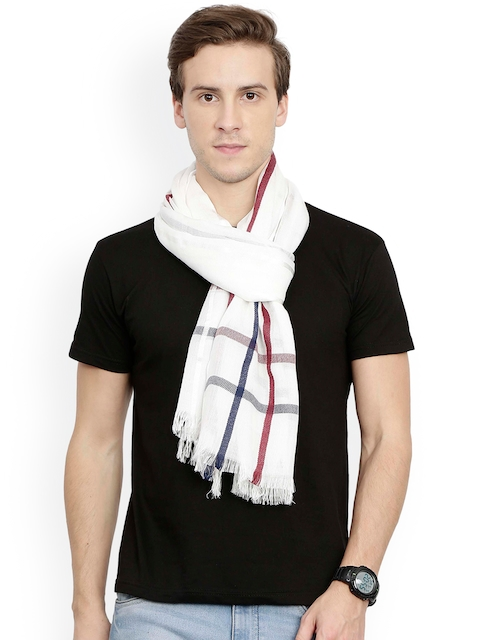 FabSeasons Unisex White Checked Scarf
