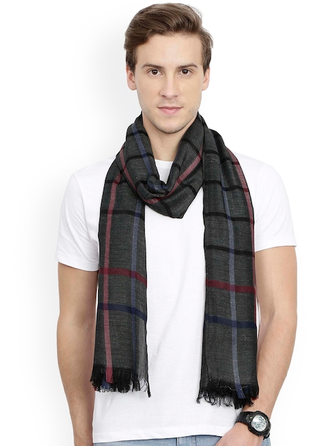 FabSeasons Unisex Charcoal grey Checked Scarf