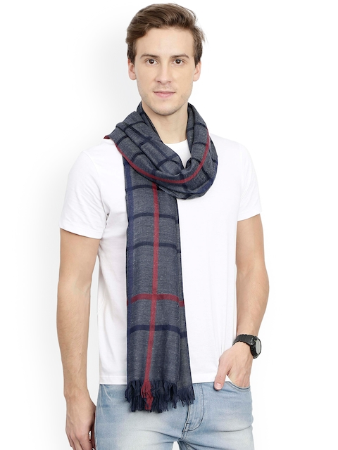 FabSeasons Navy Blue Checked Scarf