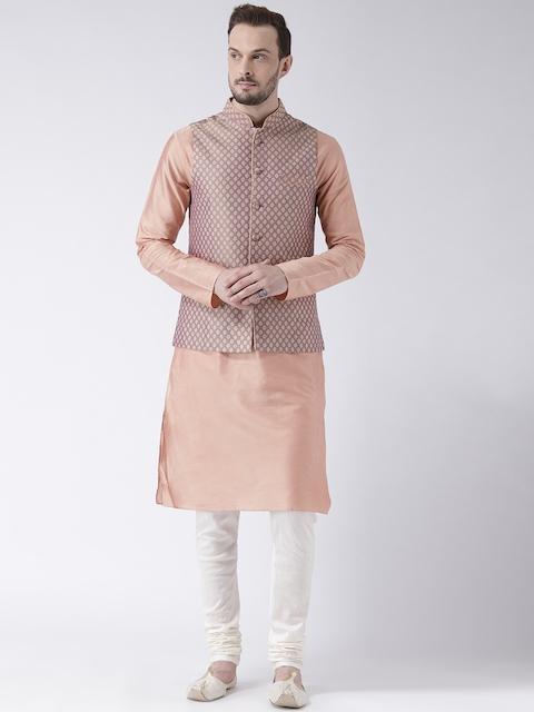 KISAH Men Peach & Mauve Jacquard Banarasi Kurta with Churidar & Nehru Jacket