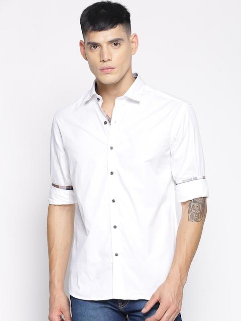 IVOC Men White Slim Fit Solid Casual Shirt