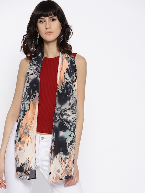 I AM FOR YOU Women Black & Peach-Coloured Printed Stole