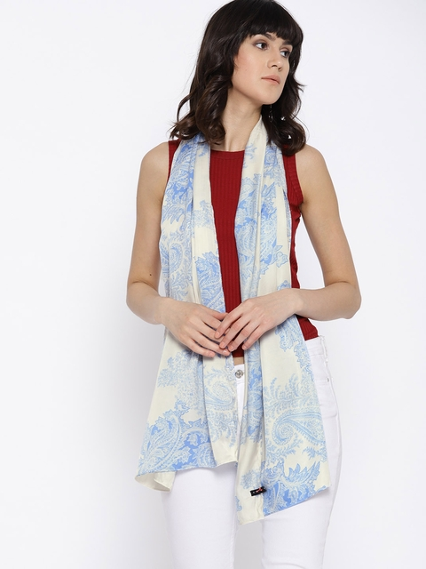 I AM FOR YOU Women Blue & Off-White Printed Stole