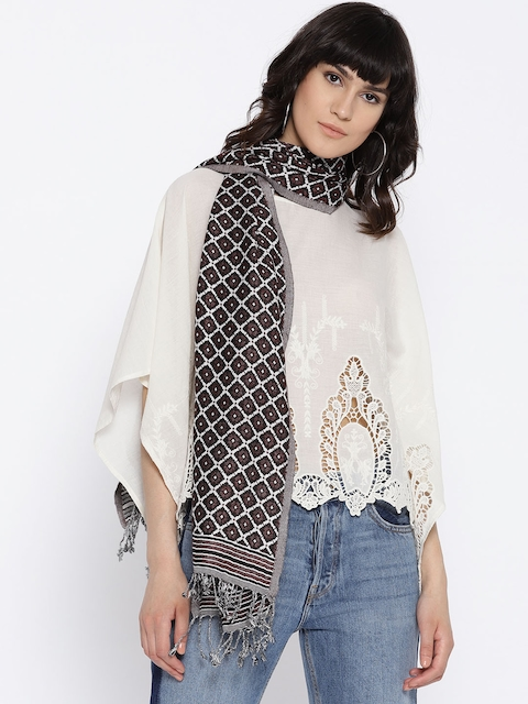 I AM FOR YOU Women Off-White & Maroon Woven Design Stole