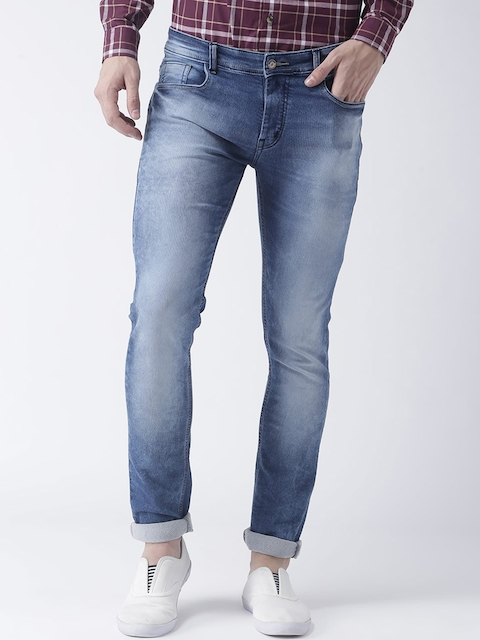 Hangup Men Blue Slim Fit Mid-Rise Clean Look Stretchable Jeans