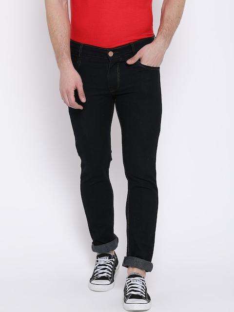 Teesort Men Black Slim Fit Mid-Rise Clean Look Stretchable Jeans
